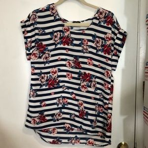 Rue 21 Floral Print/Striped Blouse